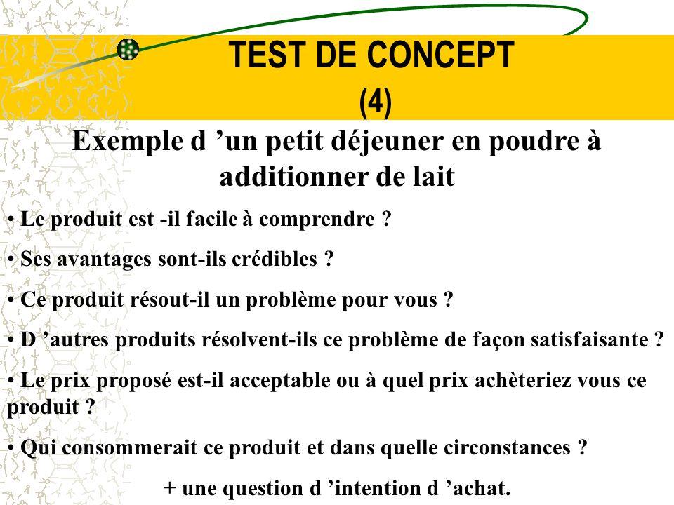 TEST DE CONCEPT (4) Exemple d un petit déjeuner en poudre à additionner de lait Le produit est -il facile à comprendre ? Ses avantages sont-ils crédib