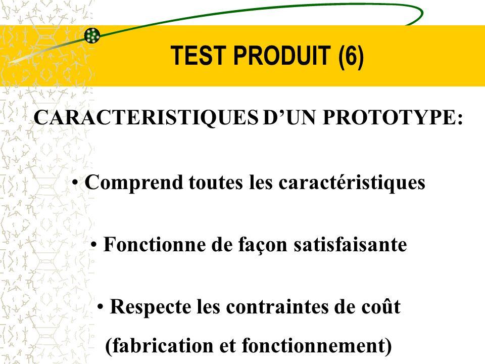 TEST PRODUIT (6) CARACTERISTIQUES DUN PROTOTYPE: Comprend toutes les caractéristiques Fonctionne de façon satisfaisante Respecte les contraintes de co