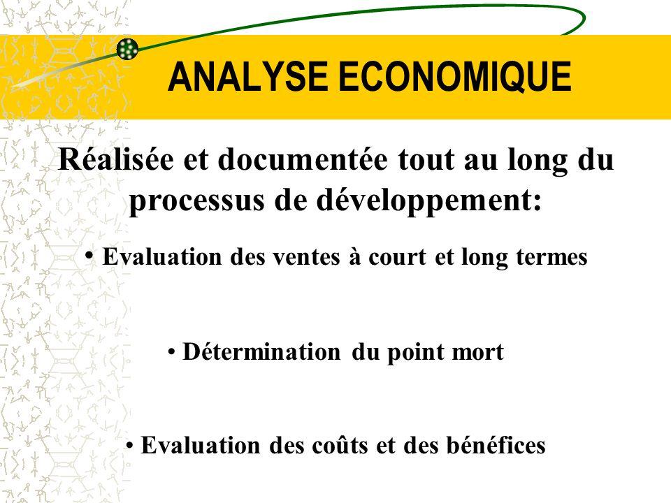 ANALYSE ECONOMIQUE Réalisée et documentée tout au long du processus de développement: Evaluation des ventes à court et long termes Détermination du po