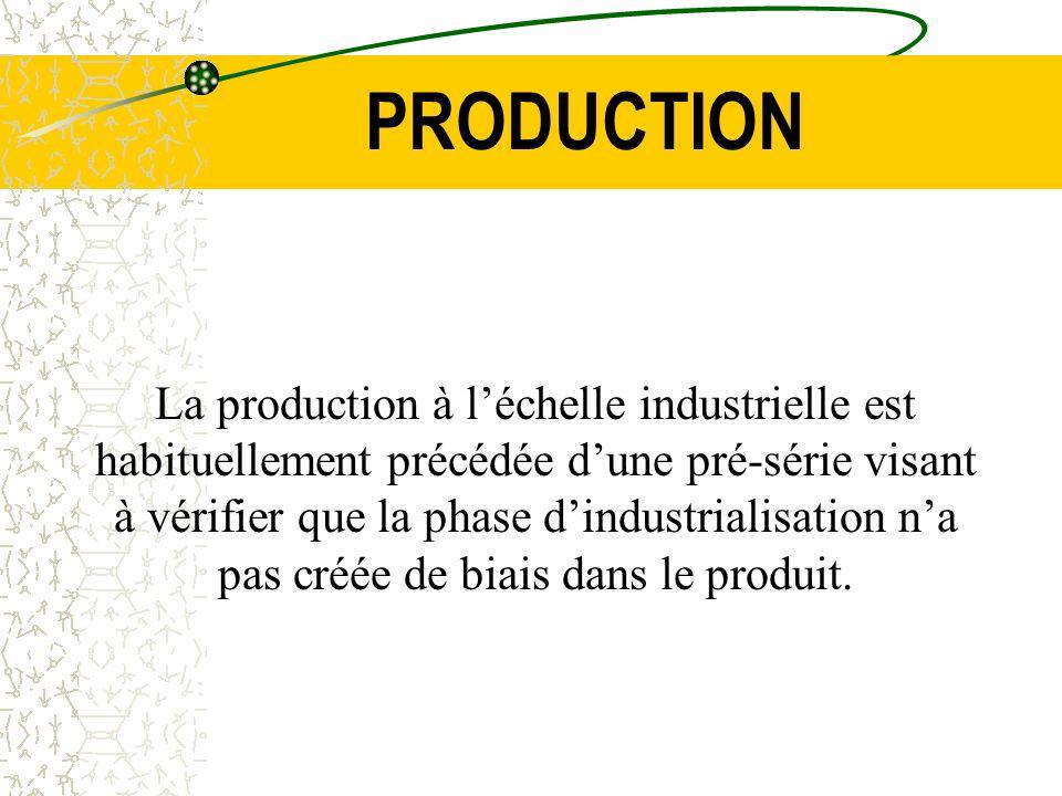 PRODUCTION La production à léchelle industrielle est habituellement précédée dune pré-série visant à vérifier que la phase dindustrialisation na pas c