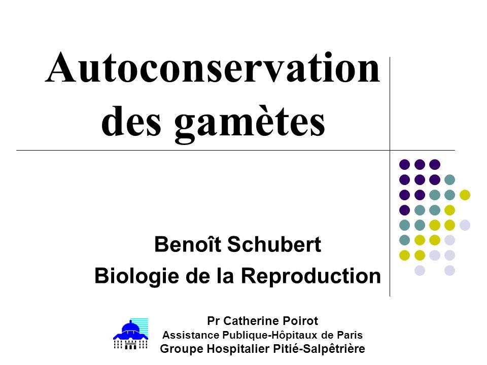 Benoît Schubert Biologie de la Reproduction Autoconservation des gamètes Pr Catherine Poirot Assistance Publique-Hôpitaux de Paris Groupe Hospitalier