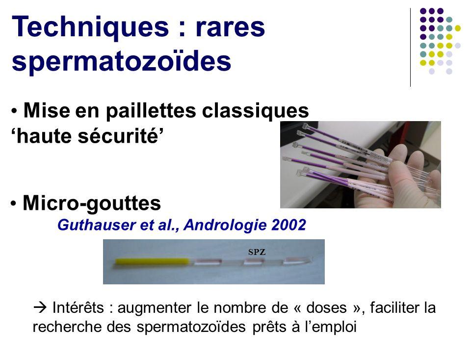 Techniques : rares spermatozoïdes Mise en paillettes classiques haute sécurité Micro-gouttes Guthauser et al., Andrologie 2002 Intérêts : augmenter le
