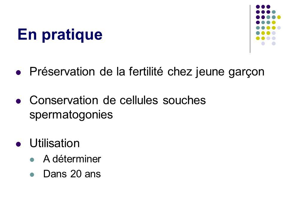 En pratique Préservation de la fertilité chez jeune garçon Conservation de cellules souches spermatogonies Utilisation A déterminer Dans 20 ans