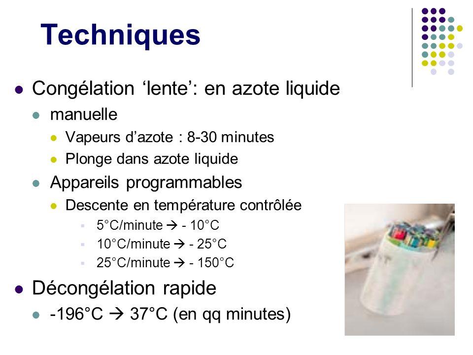 Techniques Congélation lente: en azote liquide manuelle Vapeurs dazote : 8-30 minutes Plonge dans azote liquide Appareils programmables Descente en te