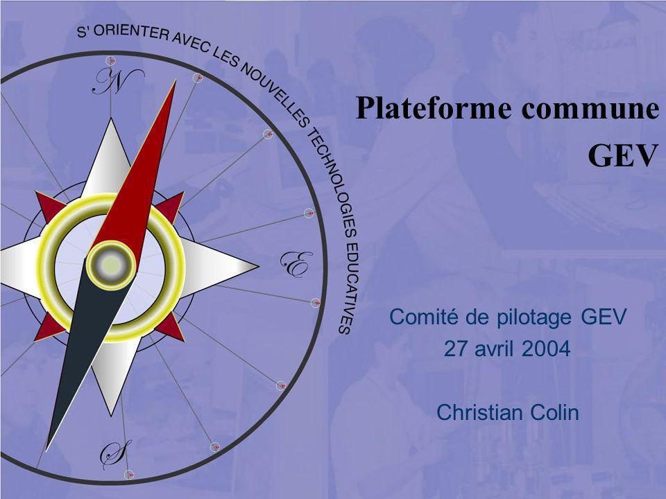 Plateforme commune GEV Comité de pilotage GEV 27 avril 2004 Christian Colin
