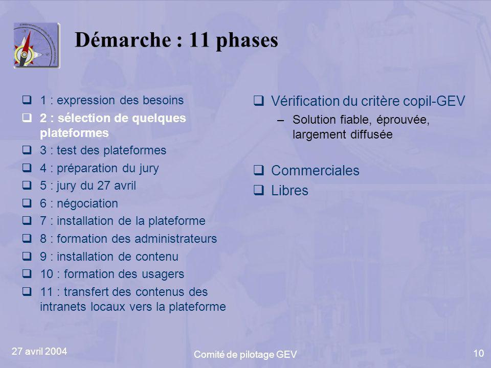 27 avril 2004 Comité de pilotage GEV 10 Démarche : 11 phases 1 : expression des besoins 2 : sélection de quelques plateformes 3 : test des plateformes