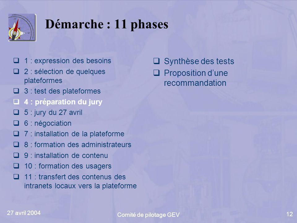27 avril 2004 Comité de pilotage GEV 12 Démarche : 11 phases 1 : expression des besoins 2 : sélection de quelques plateformes 3 : test des plateformes