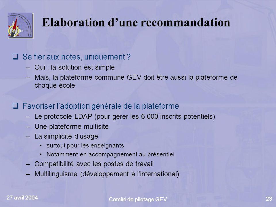 27 avril 2004 Comité de pilotage GEV 23 Elaboration dune recommandation Se fier aux notes, uniquement ? –Oui : la solution est simple –Mais, la platef