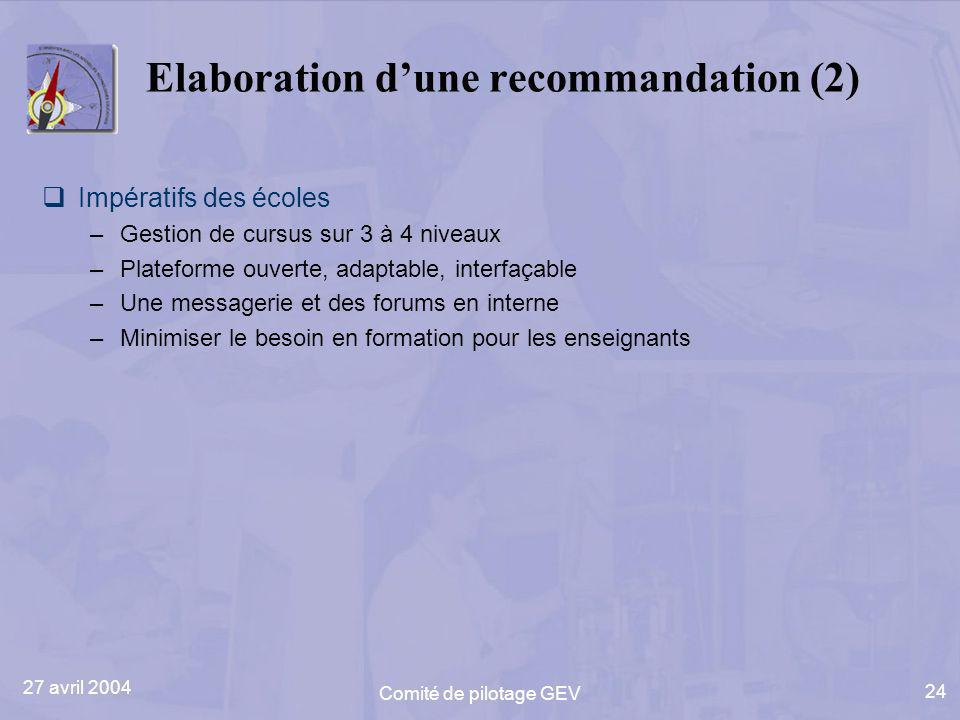 27 avril 2004 Comité de pilotage GEV 24 Elaboration dune recommandation (2) Impératifs des écoles –Gestion de cursus sur 3 à 4 niveaux –Plateforme ouverte, adaptable, interfaçable –Une messagerie et des forums en interne –Minimiser le besoin en formation pour les enseignants