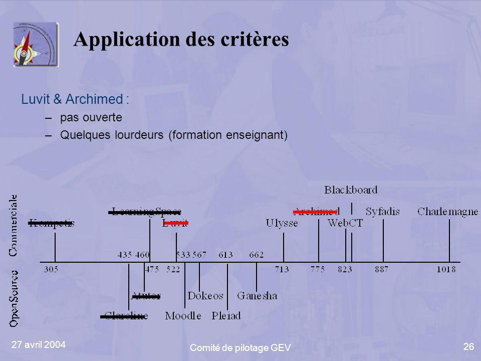 27 avril 2004 Comité de pilotage GEV 26 Application des critères Luvit & Archimed : –pas ouverte –Quelques lourdeurs (formation enseignant)