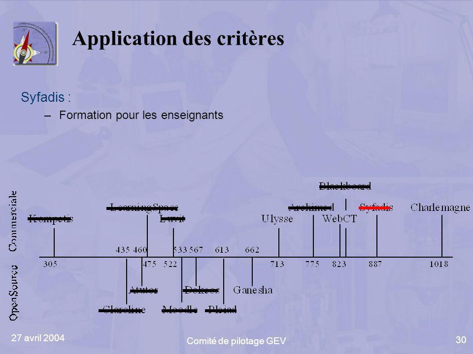 27 avril 2004 Comité de pilotage GEV 30 Application des critères Syfadis : –Formation pour les enseignants