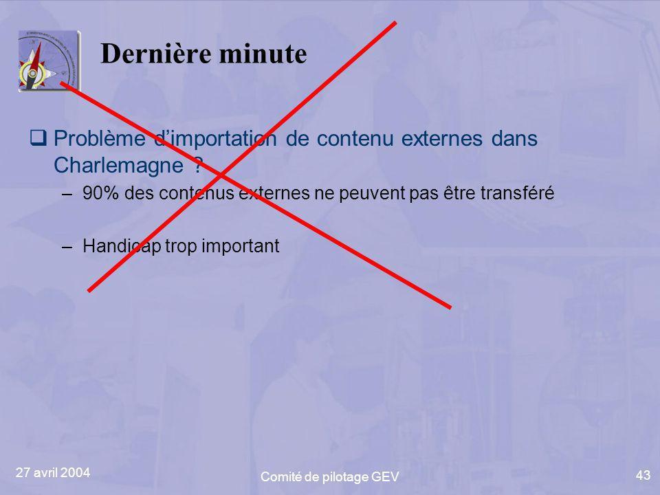27 avril 2004 Comité de pilotage GEV 43 Dernière minute Problème dimportation de contenu externes dans Charlemagne ? –90% des contenus externes ne peu