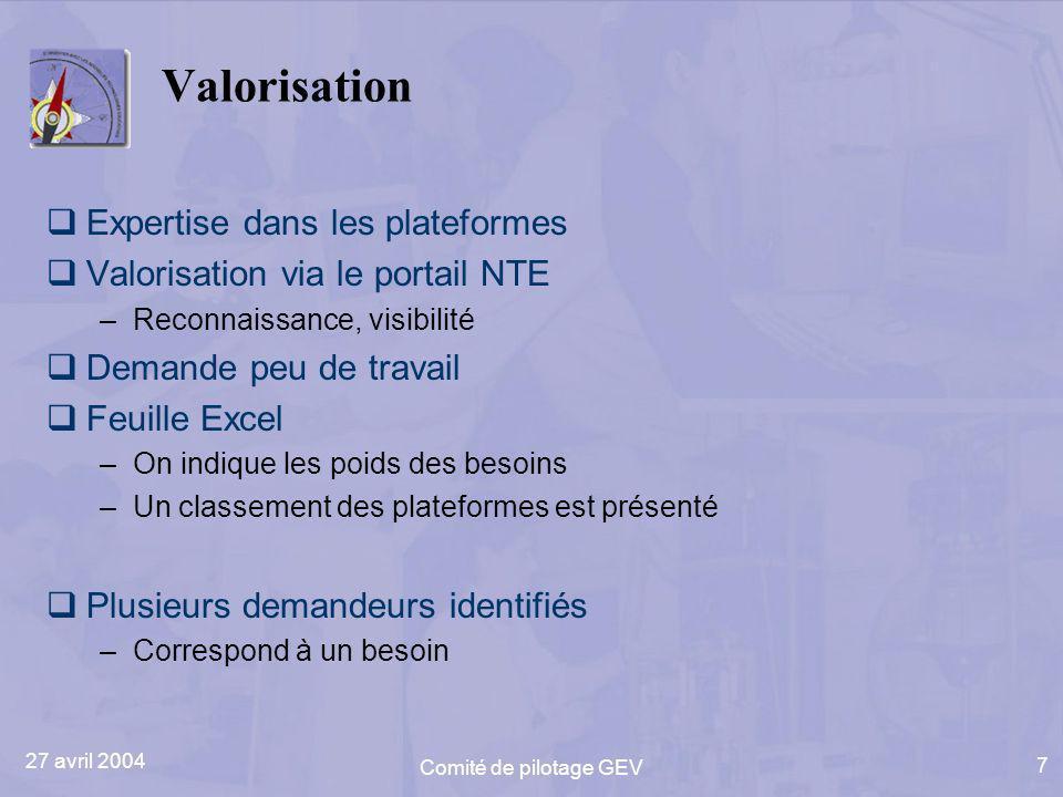 27 avril 2004 Comité de pilotage GEV 7 Valorisation Expertise dans les plateformes Valorisation via le portail NTE –Reconnaissance, visibilité Demande