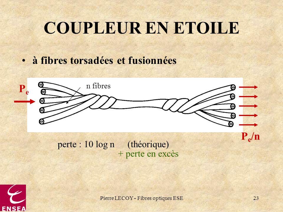 Pierre LECOY - Fibres optiques ESE23 COUPLEUR EN ETOILE à fibres torsadées et fusionnées perte : 10 log n(théorique) + perte en excès PePe P e /n n fi