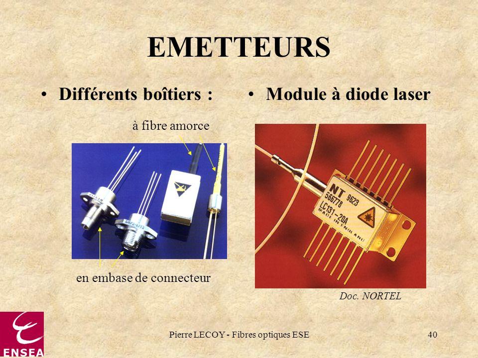 Pierre LECOY - Fibres optiques ESE40 EMETTEURS Différents boîtiers :Module à diode laser Doc. NORTEL en embase de connecteur à fibre amorce