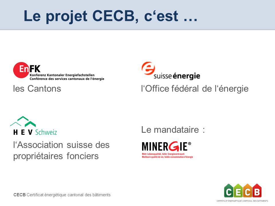 CECB Certificat énergétique cantonal des bâtiments Le projet CECB, cest … les Cantons Le mandataire : lAssociation suisse des propriétaires fonciers l