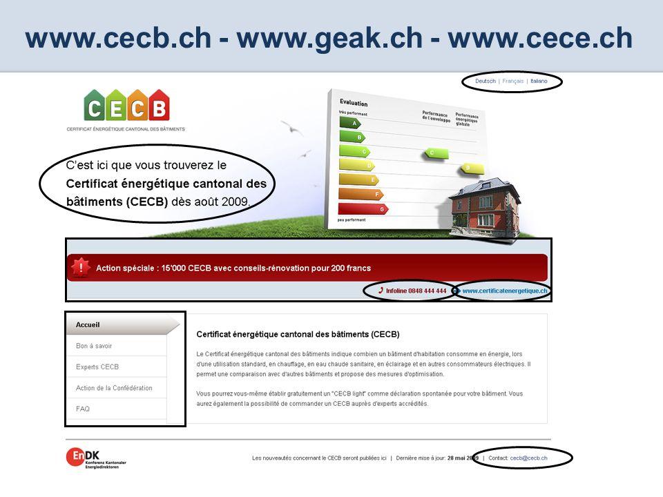 CECB Certificat énergétique cantonal des bâtiments www.cecb.ch - www.geak.ch - www.cece.ch