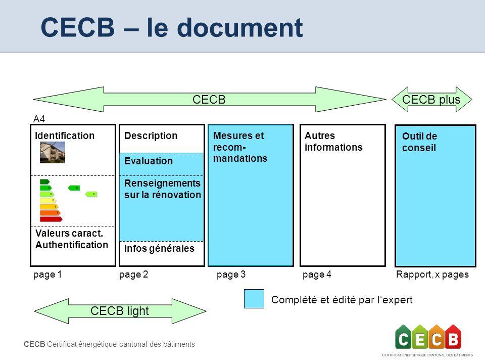CECB Certificat énergétique cantonal des bâtiments page 1page 2 CECB light CECB IdentificationAutres informations Mesures et recom- mandations Evaluat