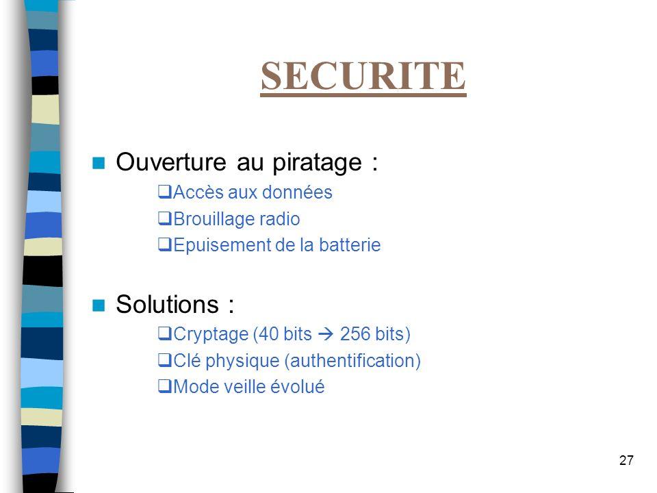 27 SECURITE Ouverture au piratage : Accès aux données Brouillage radio Epuisement de la batterie Solutions : Cryptage (40 bits 256 bits) Clé physique