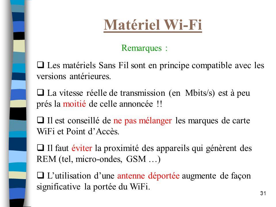 31 Matériel Wi-Fi Les matériels Sans Fil sont en principe compatible avec les versions antérieures. La vitesse réelle de transmission (en Mbits/s) est