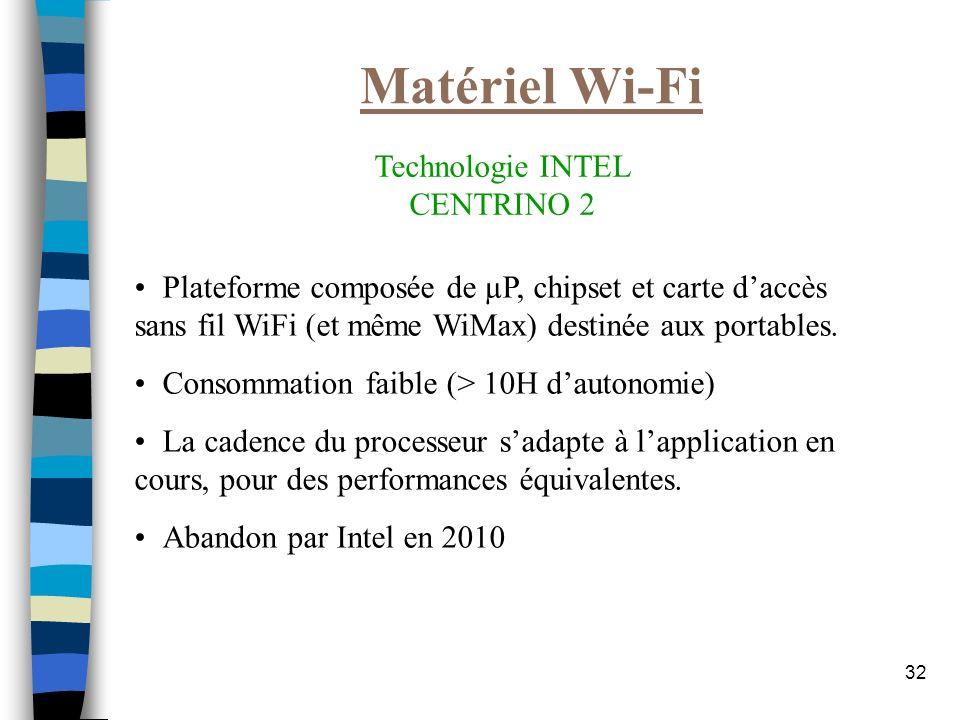 32 Matériel Wi-Fi Technologie INTEL CENTRINO 2 Plateforme composée de µP, chipset et carte daccès sans fil WiFi (et même WiMax) destinée aux portables