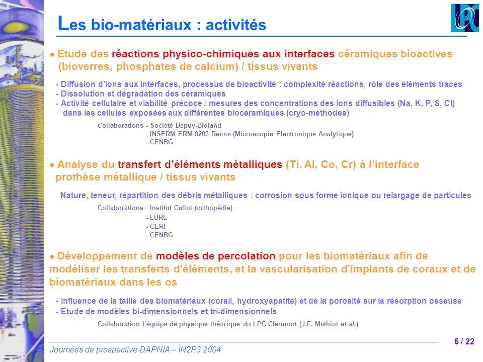 5 / 22 Journées de prospective DAPNIA – IN2P3 2004 L es bio-matériaux : activités Etude des réactions physico-chimiques aux interfaces céramiques bioa