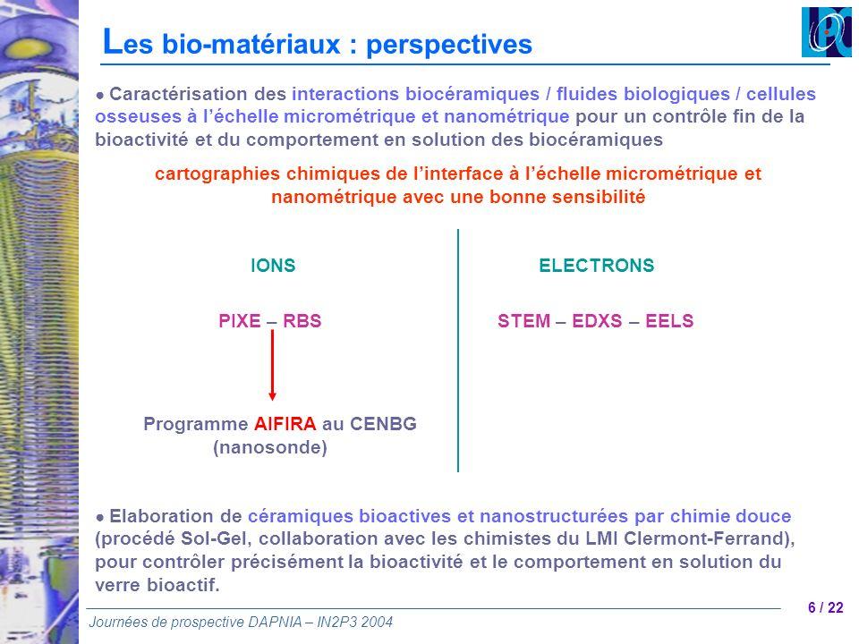 6 / 22 Journées de prospective DAPNIA – IN2P3 2004 Caractérisation des interactions biocéramiques / fluides biologiques / cellules osseuses à léchelle