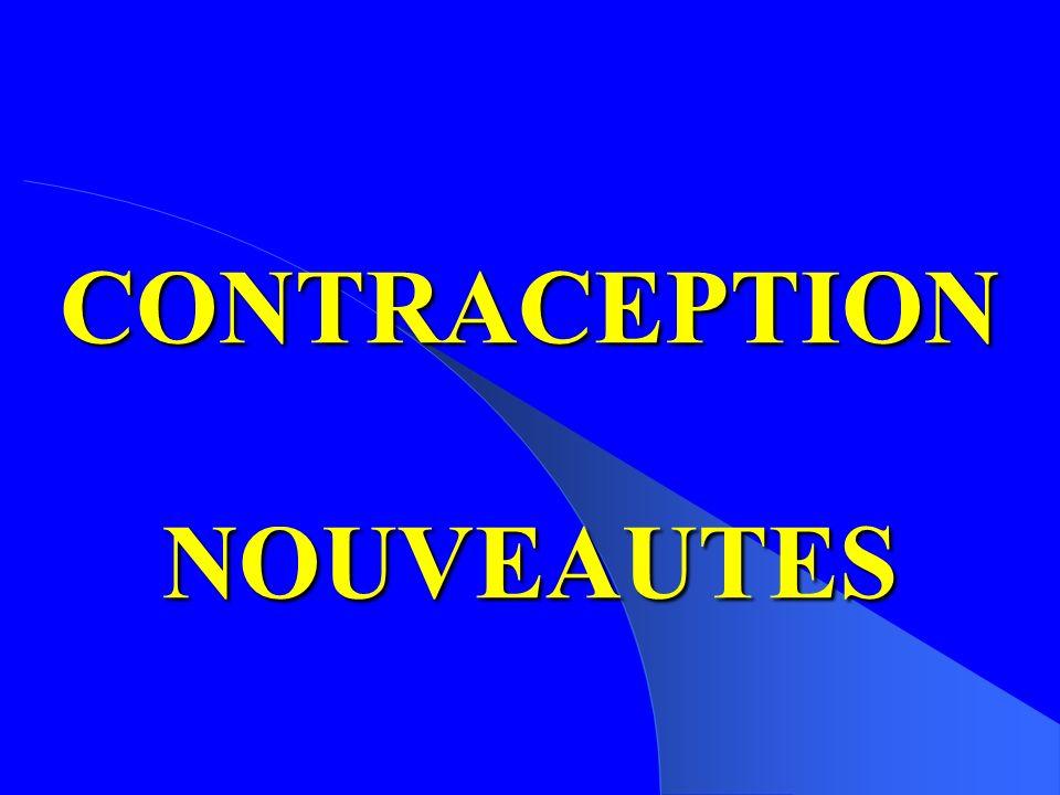 Pharmacocinétique de Nuvaring® Timmer & Mulders, Clin Pharmacokinet, 2000;39:233–42 Time after insertion (days) 0 500 1000 1500 2000 05101520 0 10 20 30 40 50 60 Etonogestrel (pg/ml) EE (pg/ml)