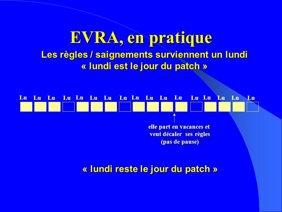 EVRA, en pratique Les règles / saignements surviennent un lundi « lundi est le jour du patch » Lu elle part en vacances et veut décaler ses règles (pas de pause) Lu « lundi reste le jour du patch » Lu
