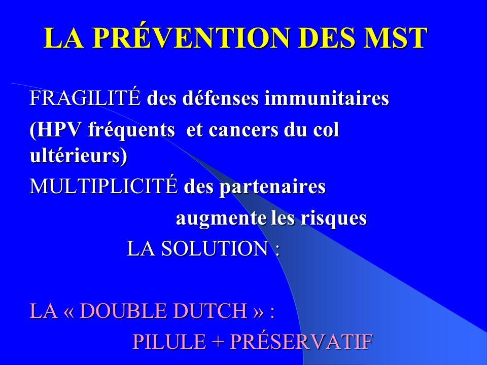 LA PRÉVENTION DES MST FRAGILITÉ des défenses immunitaires (HPV fréquents et cancers du col ultérieurs) MULTIPLICITÉ des partenaires augmente les risques LA SOLUTION : LA « DOUBLE DUTCH » : PILULE + PRÉSERVATIF PILULE + PRÉSERVATIF