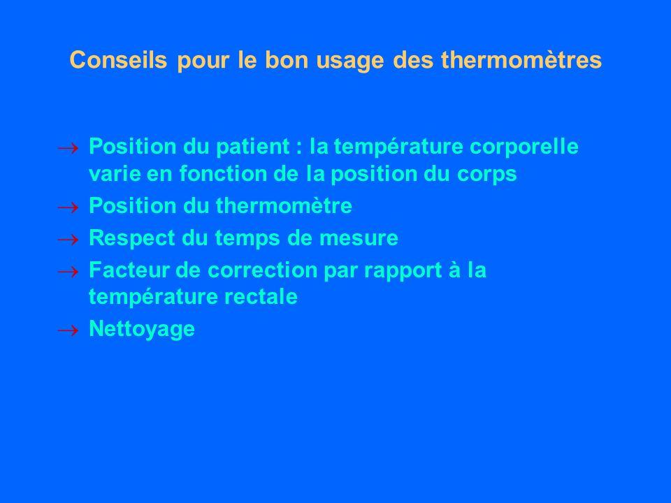 Conseils pour le bon usage des thermomètres Position du patient : la température corporelle varie en fonction de la position du corps Position du thermomètre Respect du temps de mesure Facteur de correction par rapport à la température rectale Nettoyage