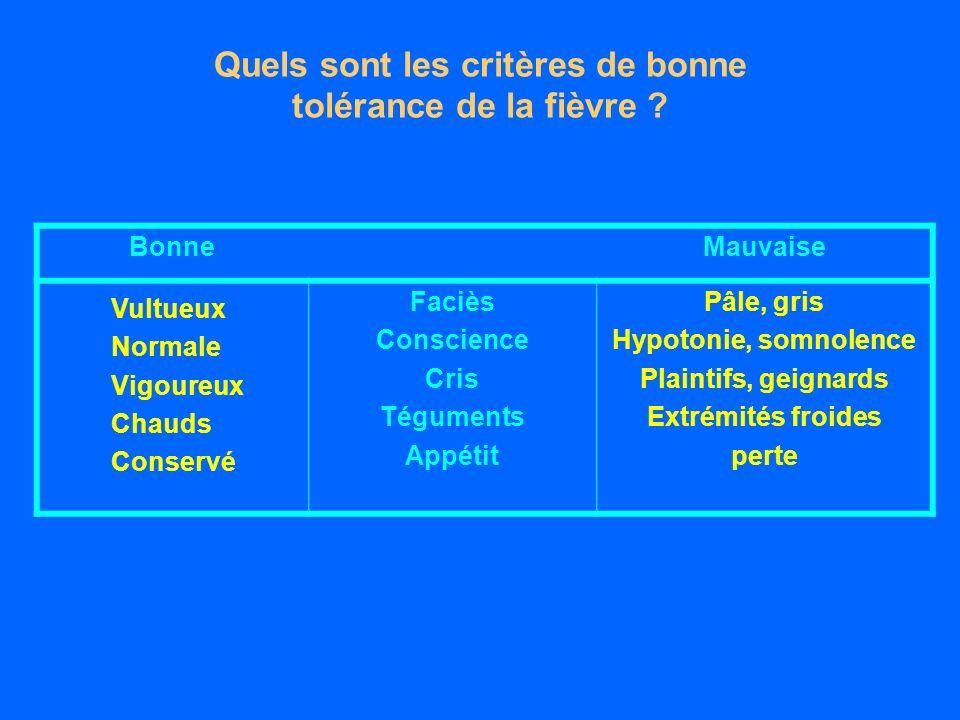 Quels sont les critères de bonne tolérance de la fièvre .