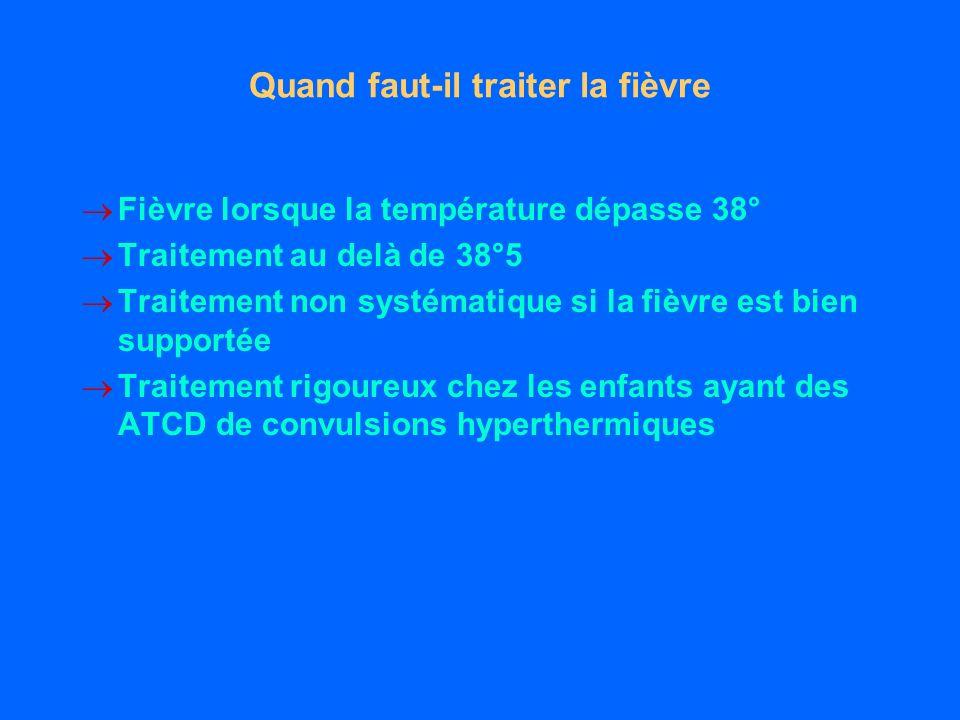 Quand faut-il traiter la fièvre Fièvre lorsque la température dépasse 38° Traitement au delà de 38°5 Traitement non systématique si la fièvre est bien supportée Traitement rigoureux chez les enfants ayant des ATCD de convulsions hyperthermiques