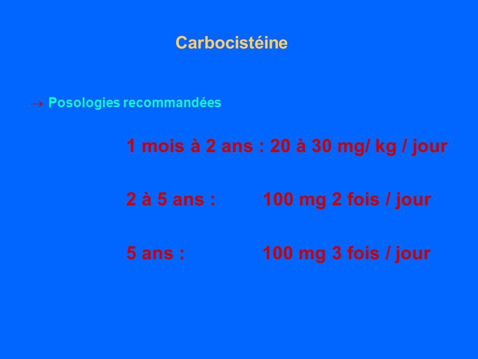 Carbocistéine Posologies recommandées 1 mois à 2 ans : 20 à 30 mg/ kg / jour 2 à 5 ans : 100 mg 2 fois / jour 5 ans : 100 mg 3 fois / jour