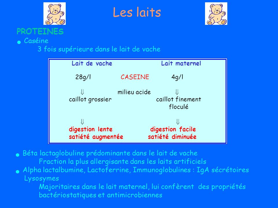 PROTEINES Caséine 3 fois supérieure dans le lait de vache Béta lactaglobulineprédominante dans le lait de vache Fraction la plus allergisante dans les laits artificiels Alpha lactalbumine,Lactoferrine, Immunoglobulines:IgAsécrétoires Lysosymes Majoritaires dans le lait maternel, lui confèrent des propriétés bactériostatiques et antimicrobiennes Lait de vacheLait maternel 28g/lCASEINE4g/l milieu acide caillot grossier caillot finement floculé digestion lente digestion facile satiété augmentée satiété diminuée Les laits