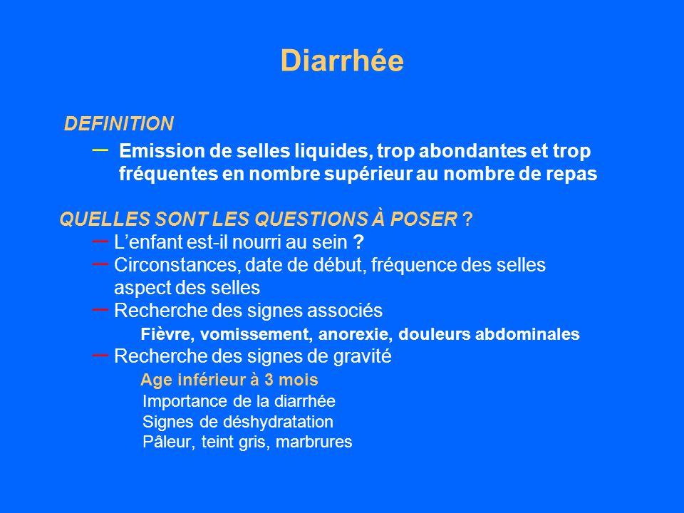 Diarrhée DEFINITION – Emission de selles liquides, trop abondantes et trop fréquentes en nombre supérieur au nombre de repas QUELLES SONT LES QUESTIONS À POSER .