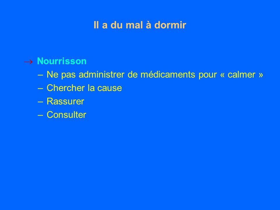 Il a du mal à dormir Nourrisson –Ne pas administrer de médicaments pour « calmer » –Chercher la cause –Rassurer –Consulter