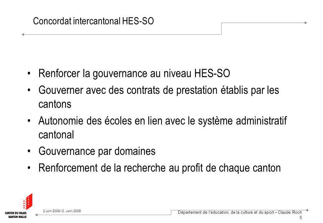Département de léducation, de la culture et du sport – Claude Roch 6 2 juin 2009 / 2.