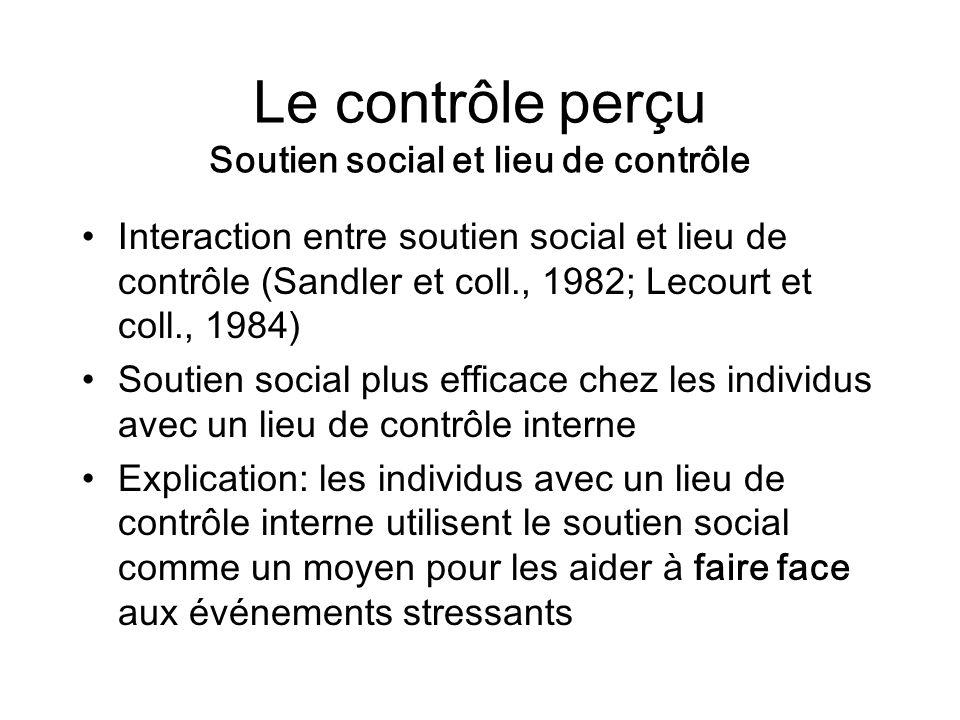 Le contrôle perçu Soutien social et lieu de contrôle Interaction entre soutien social et lieu de contrôle (Sandler et coll., 1982; Lecourt et coll., 1