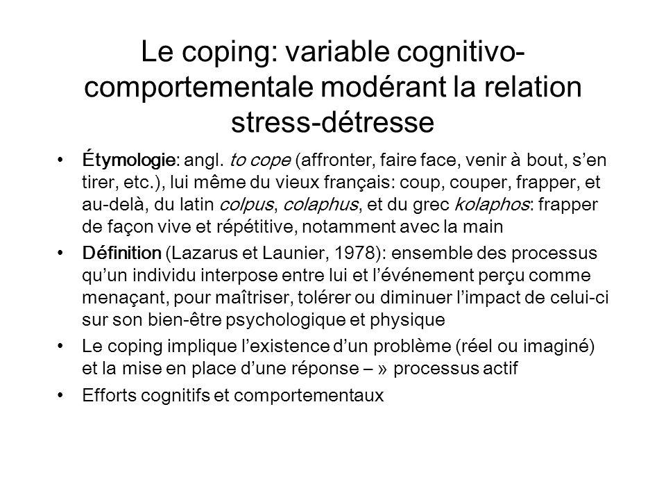 Le coping: variable cognitivo- comportementale modérant la relation stress-détresse Étymologie: angl. to cope (affronter, faire face, venir à bout, se