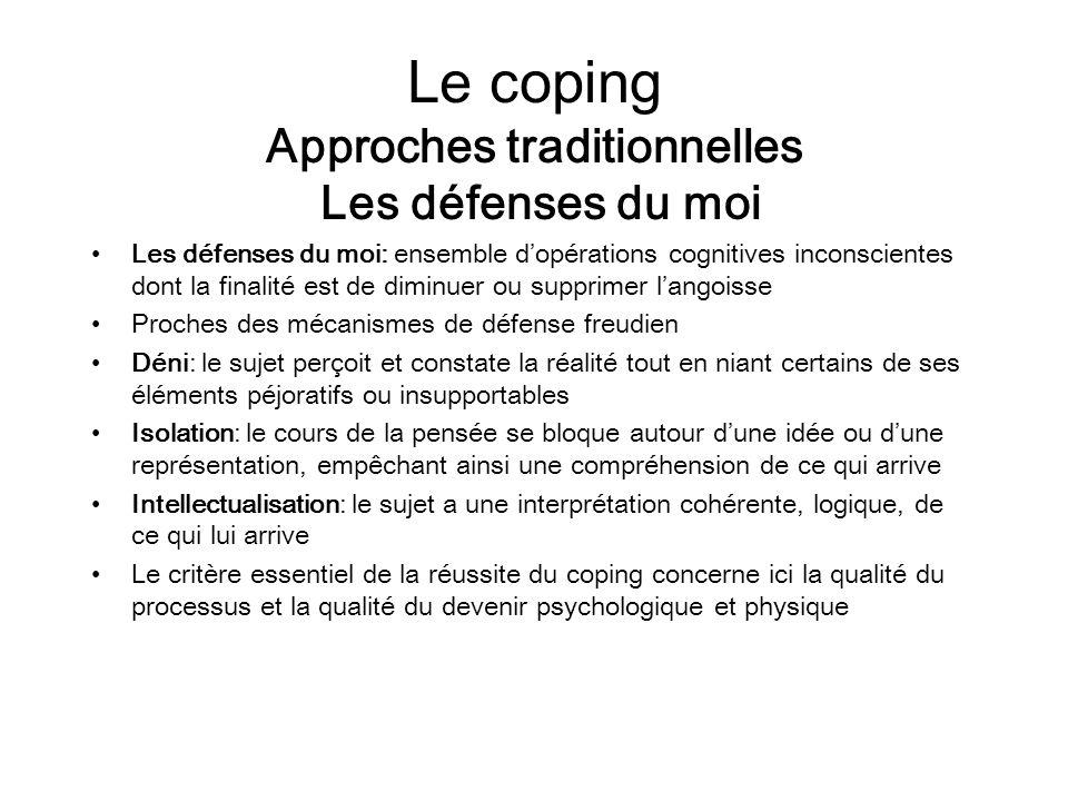 Le coping Approches traditionnelles Les défenses du moi Les défenses du moi: ensemble dopérations cognitives inconscientes dont la finalité est de dim