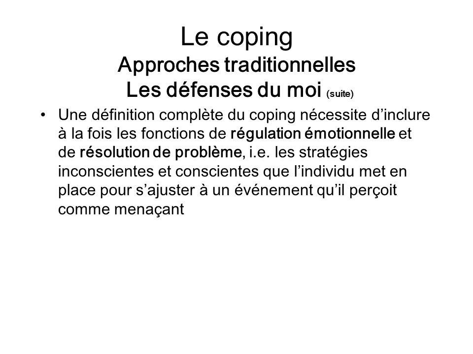 Le coping Approches traditionnelles Les défenses du moi (suite) Une définition complète du coping nécessite dinclure à la fois les fonctions de régula