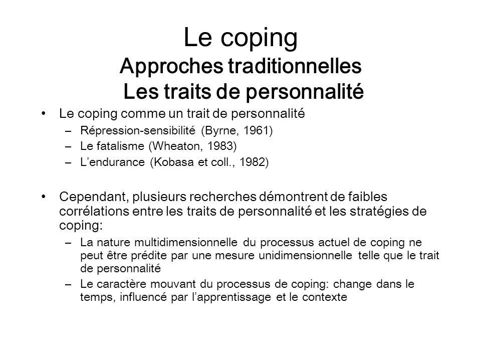 Le coping Approches traditionnelles Les traits de personnalité Le coping comme un trait de personnalité –Répression-sensibilité (Byrne, 1961) –Le fata