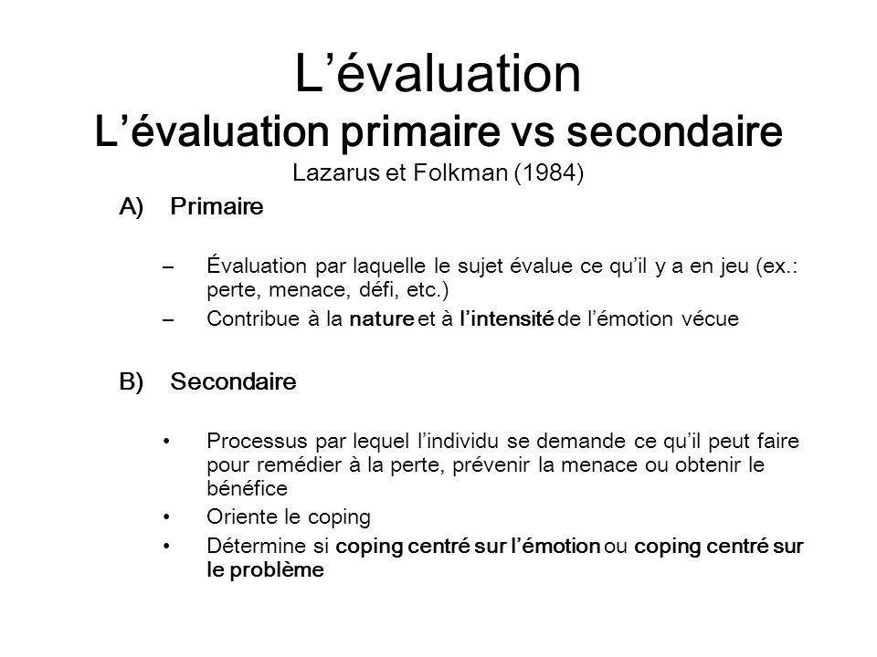 Lévaluation Lévaluation primaire vs secondaire Lazarus et Folkman (1984) A)Primaire –Évaluation par laquelle le sujet évalue ce quil y a en jeu (ex.: