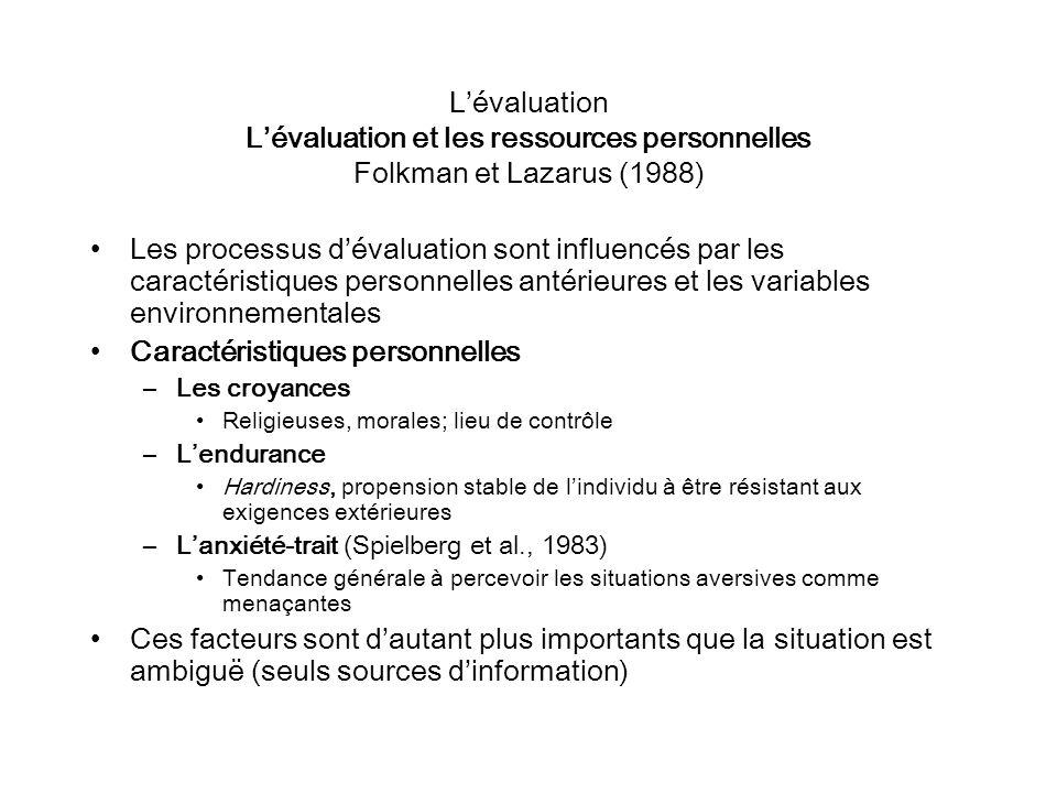 Lévaluation Lévaluation et les ressources personnelles Folkman et Lazarus (1988) Les processus dévaluation sont influencés par les caractéristiques pe