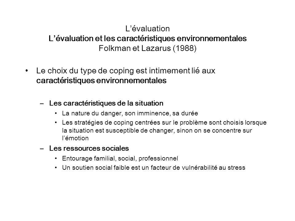 Lévaluation Lévaluation et les caractéristiques environnementales Folkman et Lazarus (1988) Le choix du type de coping est intimement lié aux caractér