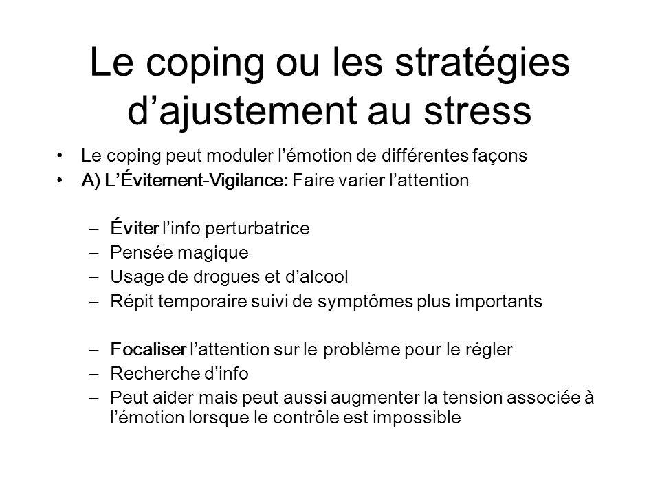 Le coping ou les stratégies dajustement au stress Le coping peut moduler lémotion de différentes façons A) LÉvitement-Vigilance: Faire varier lattenti