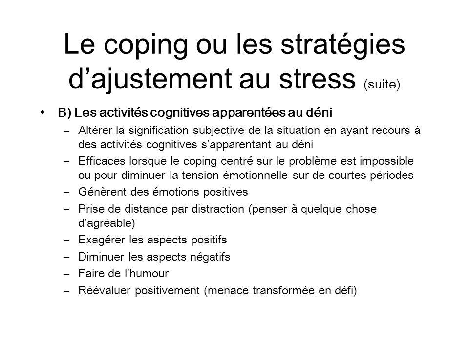 Le coping ou les stratégies dajustement au stress (suite) B) Les activités cognitives apparentées au déni –Altérer la signification subjective de la s