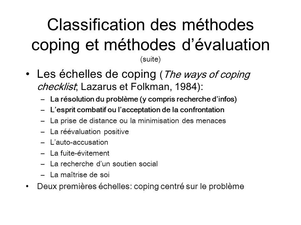 Classification des méthodes coping et méthodes dévaluation (suite) Les échelles de coping (The ways of coping checklist; Lazarus et Folkman, 1984): –L