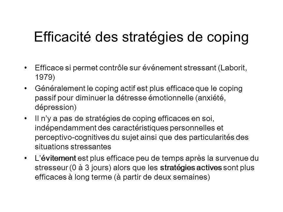 Efficacité des stratégies de coping Efficace si permet contrôle sur événement stressant (Laborit, 1979) Généralement le coping actif est plus efficace